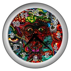 Abstract Psychedelic Face Nightmare Eyes Font Horror Fantasy Artwork Wall Clocks (silver)