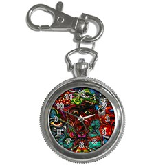 Abstract Psychedelic Face Nightmare Eyes Font Horror Fantasy Artwork Key Chain Watches