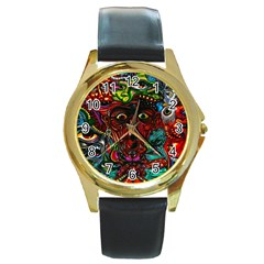 Abstract Psychedelic Face Nightmare Eyes Font Horror Fantasy Artwork Round Gold Metal Watch