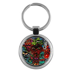 Abstract Psychedelic Face Nightmare Eyes Font Horror Fantasy Artwork Key Chains (round)