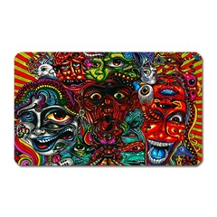 Abstract Psychedelic Face Nightmare Eyes Font Horror Fantasy Artwork Magnet (rectangular)