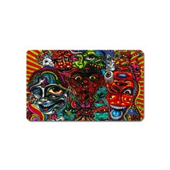Abstract Psychedelic Face Nightmare Eyes Font Horror Fantasy Artwork Magnet (Name Card)