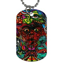 Abstract Psychedelic Face Nightmare Eyes Font Horror Fantasy Artwork Dog Tag (one Side)