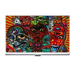 Abstract Psychedelic Face Nightmare Eyes Font Horror Fantasy Artwork Business Card Holders