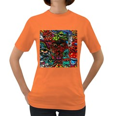 Abstract Psychedelic Face Nightmare Eyes Font Horror Fantasy Artwork Women s Dark T Shirt