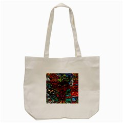 Abstract Psychedelic Face Nightmare Eyes Font Horror Fantasy Artwork Tote Bag (cream)
