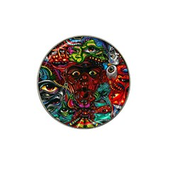 Abstract Psychedelic Face Nightmare Eyes Font Horror Fantasy Artwork Hat Clip Ball Marker