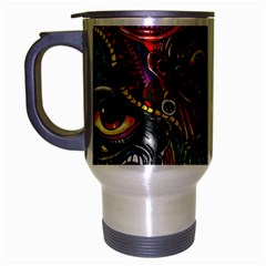 Abstract Psychedelic Face Nightmare Eyes Font Horror Fantasy Artwork Travel Mug (silver Gray)