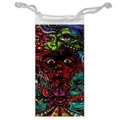 Abstract Psychedelic Face Nightmare Eyes Font Horror Fantasy Artwork Jewelry Bag