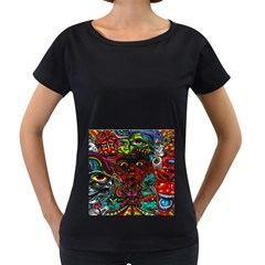 Abstract Psychedelic Face Nightmare Eyes Font Horror Fantasy Artwork Women s Loose-Fit T-Shirt (Black)