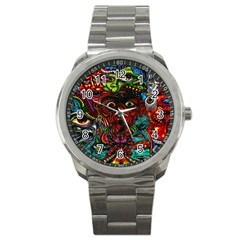 Abstract Psychedelic Face Nightmare Eyes Font Horror Fantasy Artwork Sport Metal Watch