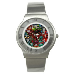 Abstract Psychedelic Face Nightmare Eyes Font Horror Fantasy Artwork Stainless Steel Watch