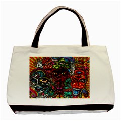 Abstract Psychedelic Face Nightmare Eyes Font Horror Fantasy Artwork Basic Tote Bag