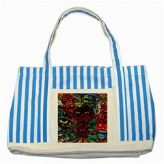 Abstract Psychedelic Face Nightmare Eyes Font Horror Fantasy Artwork Striped Blue Tote Bag