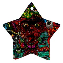 Abstract Psychedelic Face Nightmare Eyes Font Horror Fantasy Artwork Star Ornament (Two Sides)