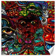 Abstract Psychedelic Face Nightmare Eyes Font Horror Fantasy Artwork Canvas 16  X 16