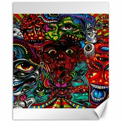 Abstract Psychedelic Face Nightmare Eyes Font Horror Fantasy Artwork Canvas 16  X 20