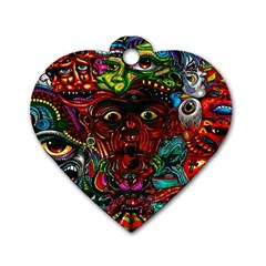 Abstract Psychedelic Face Nightmare Eyes Font Horror Fantasy Artwork Dog Tag Heart (One Side)