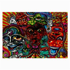 Abstract Psychedelic Face Nightmare Eyes Font Horror Fantasy Artwork Large Glasses Cloth (2-Side)