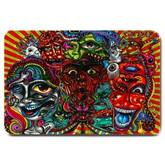 Abstract Psychedelic Face Nightmare Eyes Font Horror Fantasy Artwork Large Doormat
