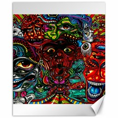 Abstract Psychedelic Face Nightmare Eyes Font Horror Fantasy Artwork Canvas 11  X 14