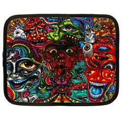 Abstract Psychedelic Face Nightmare Eyes Font Horror Fantasy Artwork Netbook Case (large)