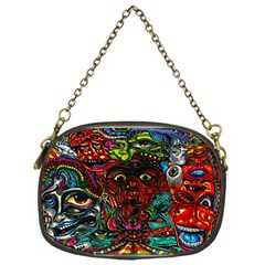 Abstract Psychedelic Face Nightmare Eyes Font Horror Fantasy Artwork Chain Purses (One Side)