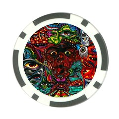 Abstract Psychedelic Face Nightmare Eyes Font Horror Fantasy Artwork Poker Chip Card Guard (10 Pack)