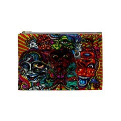 Abstract Psychedelic Face Nightmare Eyes Font Horror Fantasy Artwork Cosmetic Bag (Medium)