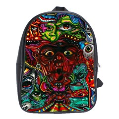 Abstract Psychedelic Face Nightmare Eyes Font Horror Fantasy Artwork School Bags(Large)