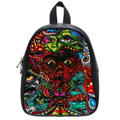 Abstract Psychedelic Face Nightmare Eyes Font Horror Fantasy Artwork School Bags (Small)