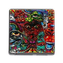 Abstract Psychedelic Face Nightmare Eyes Font Horror Fantasy Artwork Memory Card Reader (square)