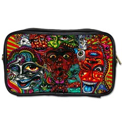 Abstract Psychedelic Face Nightmare Eyes Font Horror Fantasy Artwork Toiletries Bags 2-Side