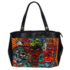 Abstract Psychedelic Face Nightmare Eyes Font Horror Fantasy Artwork Office Handbags (2 Sides)