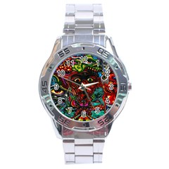 Abstract Psychedelic Face Nightmare Eyes Font Horror Fantasy Artwork Stainless Steel Analogue Watch
