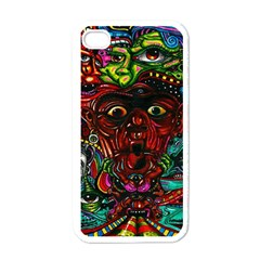 Abstract Psychedelic Face Nightmare Eyes Font Horror Fantasy Artwork Apple Iphone 4 Case (white)