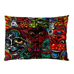 Abstract Psychedelic Face Nightmare Eyes Font Horror Fantasy Artwork Pillow Case (Two Sides)