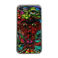 Abstract Psychedelic Face Nightmare Eyes Font Horror Fantasy Artwork Apple iPhone 4 Case (Clear)