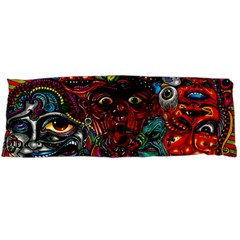 Abstract Psychedelic Face Nightmare Eyes Font Horror Fantasy Artwork Body Pillow Case Dakimakura (two Sides)