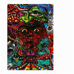 Abstract Psychedelic Face Nightmare Eyes Font Horror Fantasy Artwork Small Garden Flag (two Sides)