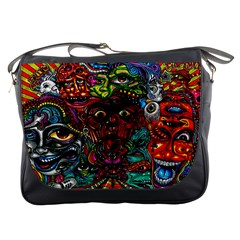 Abstract Psychedelic Face Nightmare Eyes Font Horror Fantasy Artwork Messenger Bags