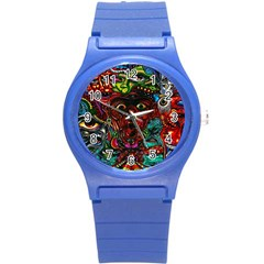 Abstract Psychedelic Face Nightmare Eyes Font Horror Fantasy Artwork Round Plastic Sport Watch (s)