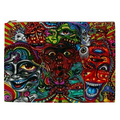Abstract Psychedelic Face Nightmare Eyes Font Horror Fantasy Artwork Cosmetic Bag (xxl)