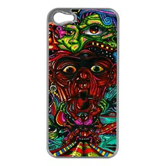 Abstract Psychedelic Face Nightmare Eyes Font Horror Fantasy Artwork Apple iPhone 5 Case (Silver)