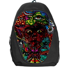 Abstract Psychedelic Face Nightmare Eyes Font Horror Fantasy Artwork Backpack Bag