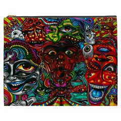 Abstract Psychedelic Face Nightmare Eyes Font Horror Fantasy Artwork Cosmetic Bag (xxxl)