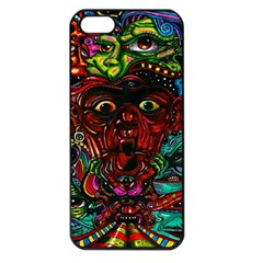 Abstract Psychedelic Face Nightmare Eyes Font Horror Fantasy Artwork Apple Iphone 5 Seamless Case (black)
