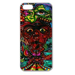 Abstract Psychedelic Face Nightmare Eyes Font Horror Fantasy Artwork Apple Seamless Iphone 5 Case (clear)
