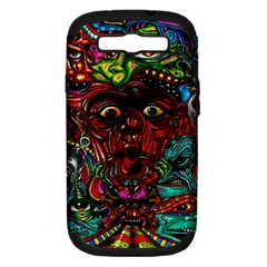 Abstract Psychedelic Face Nightmare Eyes Font Horror Fantasy Artwork Samsung Galaxy S Iii Hardshell Case (pc+silicone)