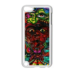 Abstract Psychedelic Face Nightmare Eyes Font Horror Fantasy Artwork Apple iPod Touch 5 Case (White)